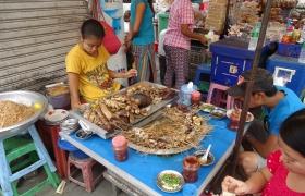 Outdoor food market Rangoon, Myanmar
